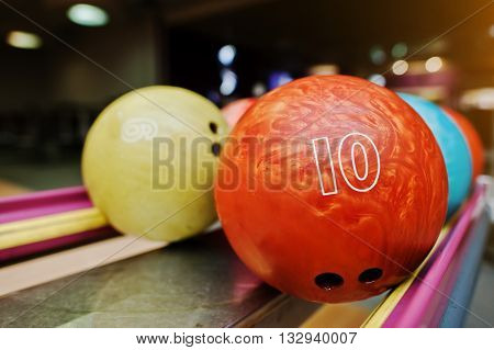 Two Colored Bowling Balls Of Number 10 And 9