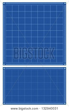 Blueprint backgrounds. Set of square and horizontal blue backgrounds with grid. Vector illustration.