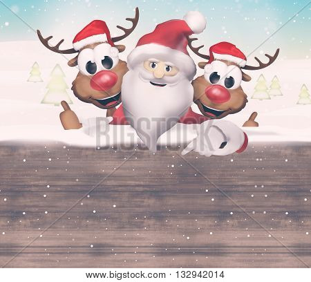 Christmas Santa Claus Reindeer graphic illustration modern image design