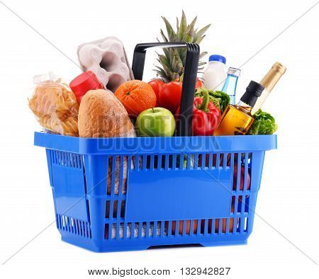 Plastic Shopping Basket With Assorted Gorcery Products