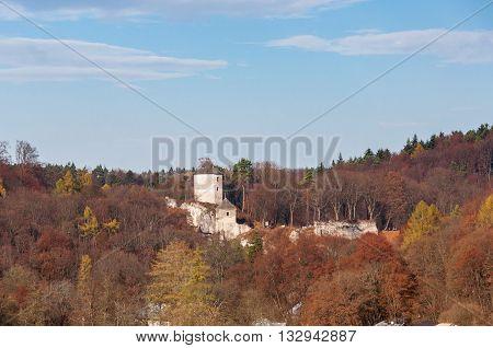 Autumn landscape of Ojcow National Park with castle ruins Poland