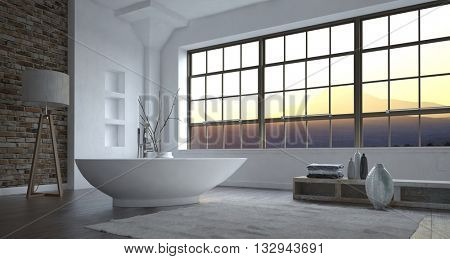 Modern minimalist luxury grey and white bathroom interior with a large view window and freestanding boat-shaped bathtub with eclectic decor, 3d, rendering.