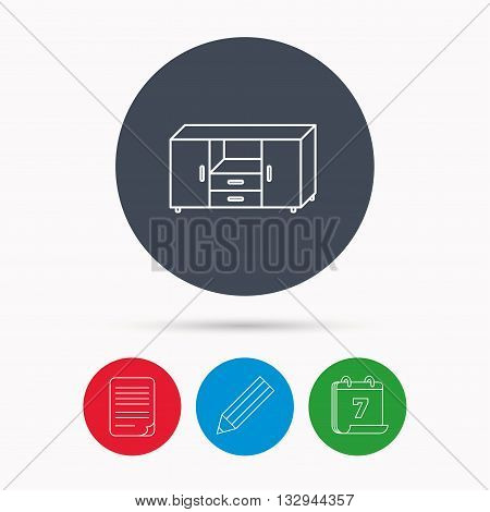 Chest of drawers icon. Interior commode sign. Calendar, pencil or edit and document file signs. Vector