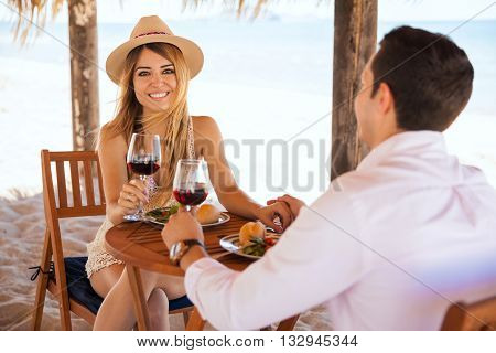 Woman Enjoying Some Wine With Her Date