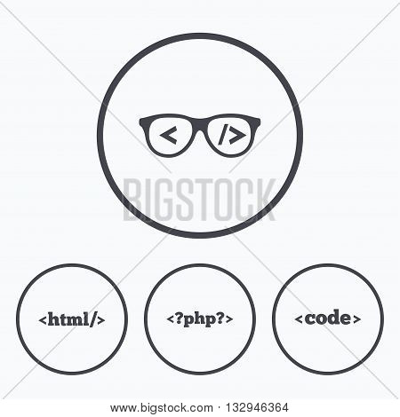 Programmer coder glasses icon. HTML markup language and PHP programming language sign symbols. Icons in circles.