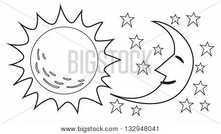 Vector illustration of Sun and Moon in black and white doodle cartoon