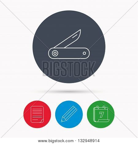 Multitool knife icon. Multifunction tool sign. Hiking equipment symbol. Calendar, pencil or edit and document file signs. Vector
