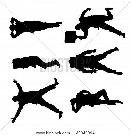 illustration of set of lying businessmen view from top on white background