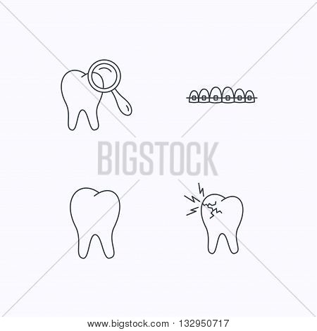 Tooth, dental braces and toothache icons. Dental diagnostics linear sign. Flat linear icons on white background. Vector