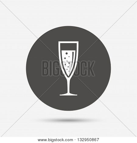 Glass of champagne sign icon. Sparkling wine with bubbles. Celebration or banquet alcohol drink symbol. Gray circle button with icon. Vector