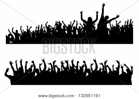 illustration of black silhouettes of dancing crowd on white background