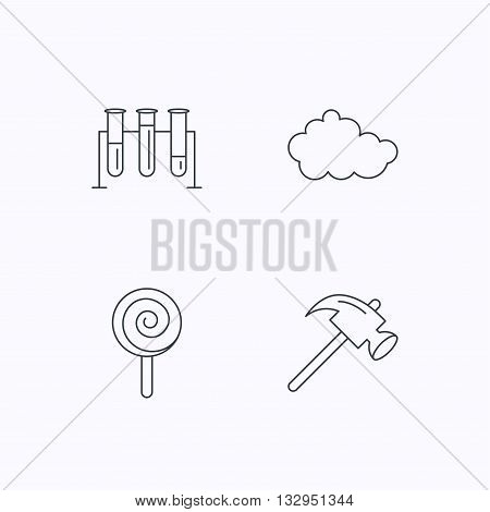 Hammer, lab bulbs and weather cloud icons. Lolly pop linear sign. Flat linear icons on white background. Vector