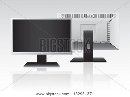 Front and Back of High Definition LED Monitor isolated on white background. Vector Illustration.
