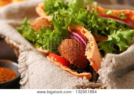 Doner kebab - falafel vegetables in pita Brad