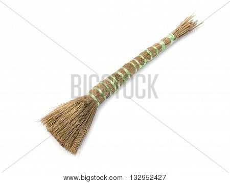 Paint brush isolated on a white background broom brush Tied with rope for painted For painted water building.( select focus front broom brush )