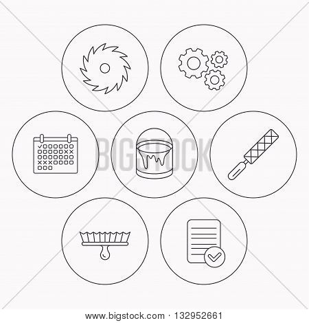 File tool, circular saw and brush tool icons. Bucket of paint linear sign. Check file, calendar and cogwheel icons. Vector