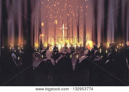 mourning, funeral, people attend a vigil and light candles in the forest, illustration