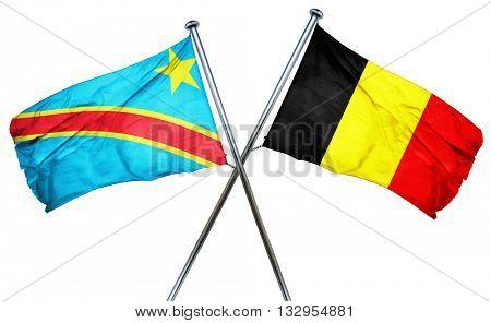 Democratic republic of the congo flag with Belgium flag, 3D rend