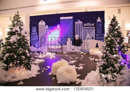 NEW YORK - DECEMBER 30, 2015: Christmas decoration in JetBlue Terminal 5 at JFK Airport