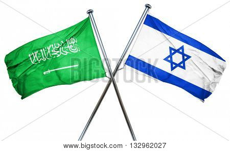 Saudi Arabia flag with Israel flag, 3D rendering