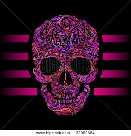 Floral pattern of form color skull. Pink stripes. Emo on black