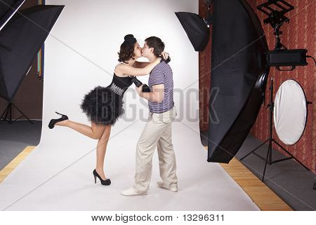 Young Model Kissing The Photographer