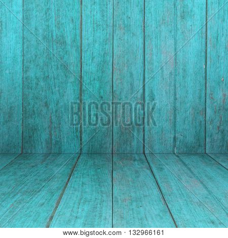 Perspective blue wooden floor with wood panel background, stock photo