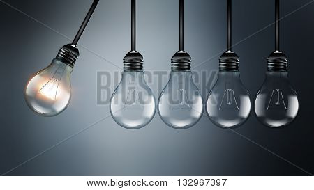 Idea concept image with light bulbs perpetual Motion concept an analogy with Newton's cradle, 3D illustration