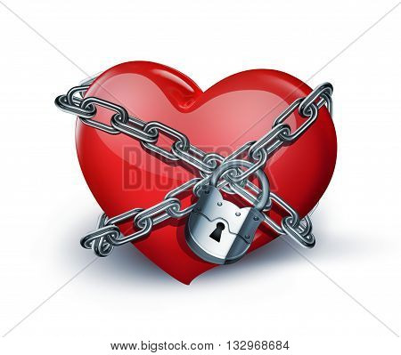 red heart in chains close-up on white background, 3D illustration
