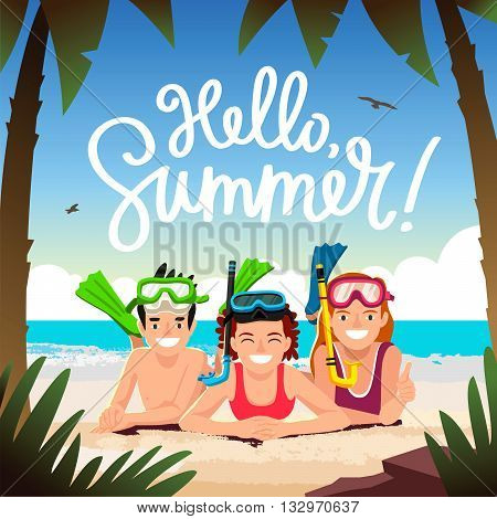 Hello summer. The trend calligraphy. Happy children with underwater snorkeling. Beautiful summer background with palm trees sand and sea. Vector illustration. Snorkeling.
