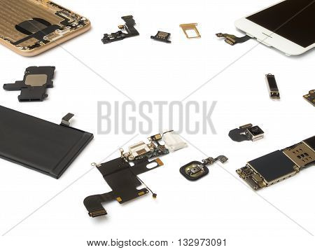 Smart phone components isolate on white background with copy space
