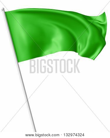 Green Flag On Flagpole Waving In Wind