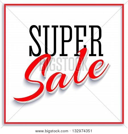 Sale Poster with Frame and Shadow. Sale and discounts template. Clearance Sale Banner, super sales, sale flyer, sale background. Vector illustration