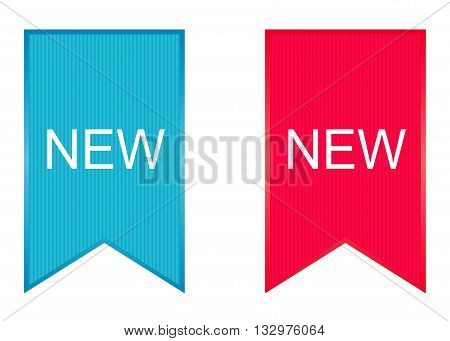 Sign New. Vector illustration in blue and red.