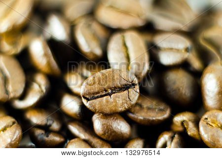 Macro shot of coffee beans with selective focus