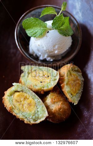 Fry Banana With Ice Cream