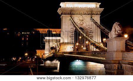 Budapest Chain Bridge. The historic Chain Bridge in Budapest, illuminated at night.