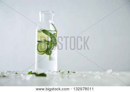 Vintage Glass Bottle Filled With Cold Fresh Cucumber Mint Lime Lemonade Like Mojito Witount Alcohol,