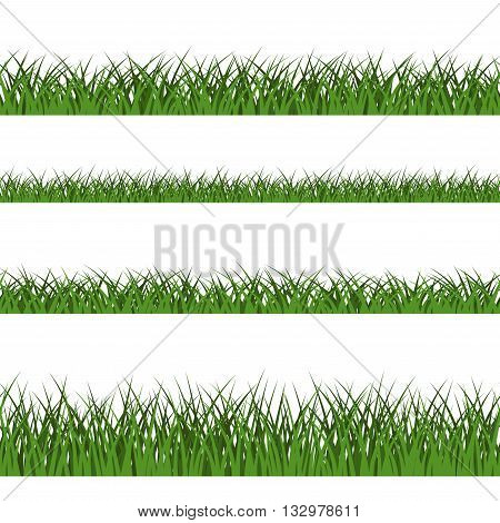 Green grass seamless pattern. Nature lush landscape background. Horizontal silhouette isolated on white. Symbol of field lawn park and meadow fresh summer. Design element. Vector illustration