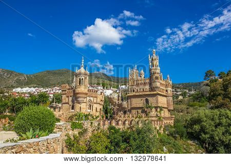 Pannoramic view of famous Castillo de Colomares is a monument similar to a fairytale castle, dedicated to Christopher Columbus. Benalmadena, near Malaga in Andalusia, Spain.