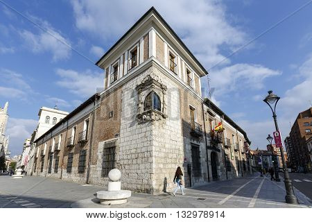 Valladolid Spain - March 23 2016: Valladolid Pimentel Palace. Birthplace of King Philip II. Example of palatial architecture in Valladolid now home to the Provincial de Valladolid. spain