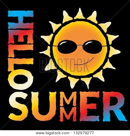 T shirt typography graphic with quote Hello summer and sun. Fashion stylish print for sports wear. Cartoon template t-shirt apparel or card poster play. Symbol travel vacation. Vector illustration