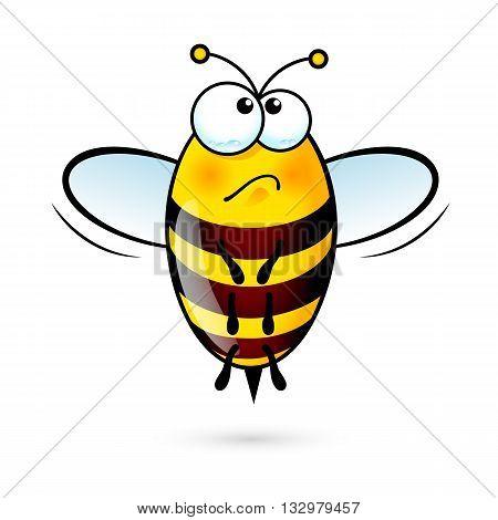 Illustration of a Friendly Cute Bee in Sorrow