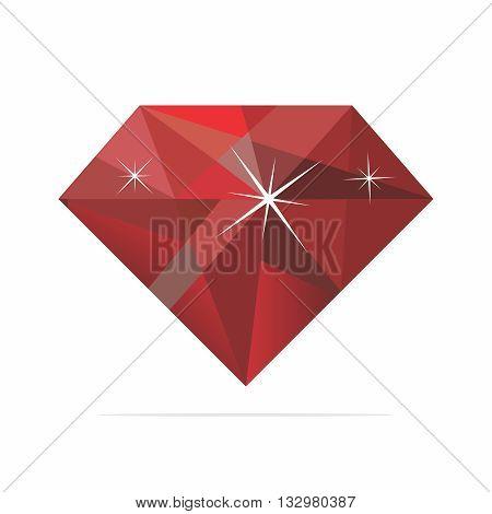 Vector Realistic Shiney Reflective Ruby Illustration isolated on white background