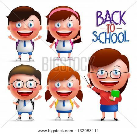 Students and teacher vector character set of boys and girls in uniforms for back to school isolated in white background. Vector illustration