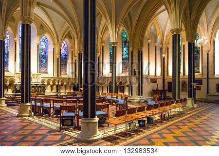 Dublin,  Ireland - July 30, 2013:  the interior of the St Patrik's cathedral