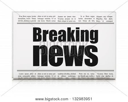 News concept: newspaper headline Breaking News on White background, 3D rendering