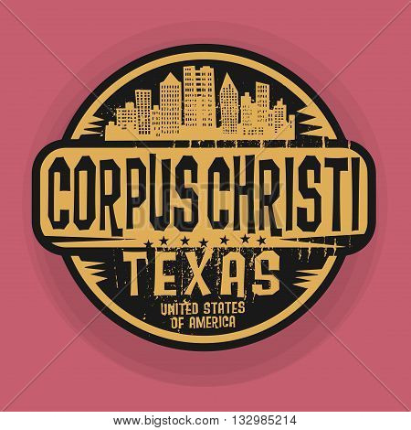 Stamp or label with name of Corpus Christi, Texas, vector illustration