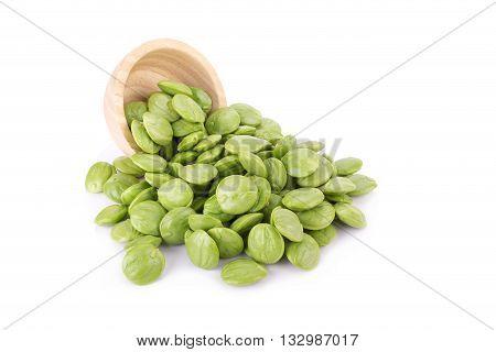 Parkia Speciosa Seeds Or Bitter Bean On White Background