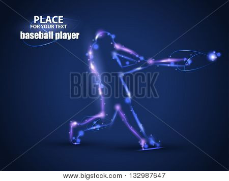 Motion design. Baseball Batter Hitting Ball. Blur and light isolated on black background. Vector illustration EPS10
